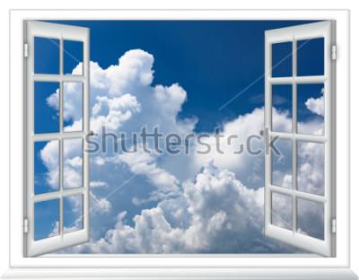 Fototapeta otevřené okno pohled na oblohu s mraky východ slunce