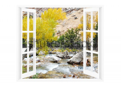 Fototapeta Otevřené okno s krásnou přírodou na pozadí