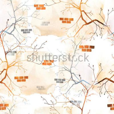 Fototapeta otisky větví jarního stromu s mladými štěňátky proti staré zdi. pozadí bezešvé vzor. abstraktní akvarel a digitální kreativní obrázek. umělecká díla smíšených médií pro textil, tkaniny, obaly