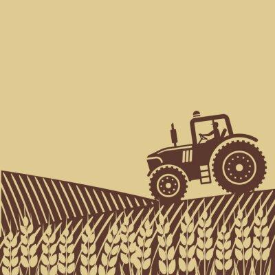 Fototapeta oválný štítek s krajinou. traktor v poli