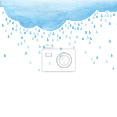 Fototapeta Overcast and rain. small scattering raindrops. Background cutout template. Large raindrops. Big lught gradiented blue cloud. Watercolor fill. Page border template. Isolated on a white background