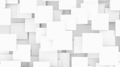 Fototapeta Overlapping blank white squares background 3d illustration