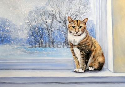 Fototapeta Paintings, watercolor.Cat, window, winter, home, animal.