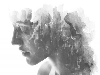 Fototapeta Paintography. Double exposure. Close up of an attractive model combined with hand drawn ink and watercolor painting with overlapping brushstroke texture, black and white
