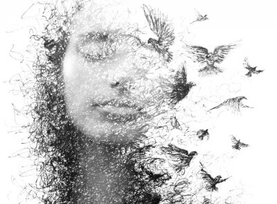 Fototapeta Paintography. Double Exposure portrait of an elegant woman with closed eyes combined with hand made pencil drawing of a flock of birds flying freely resembling disintegrating particles of her being