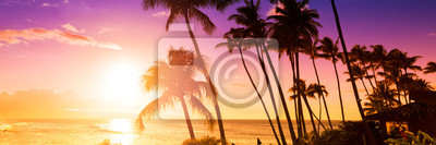Fototapeta Palm tree silhouette on a background of tropical sunset