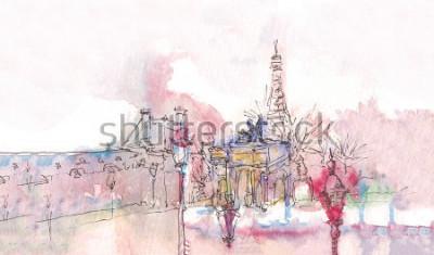 Fototapeta Památník Paříže s akvarelem v deštivém dni - starý pohled na muzeum s Eiffelovou věží za sebe. Akvarelový elegantní. Pařížské panorama. Pařížské panorama akvarelu. Chic krajina