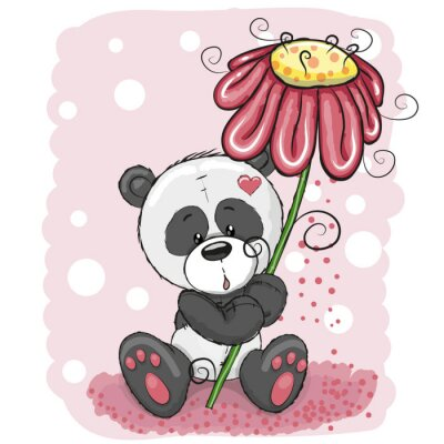 Fototapeta Panda s květinou