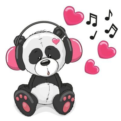 Fototapeta Panda se sluchátky na uších