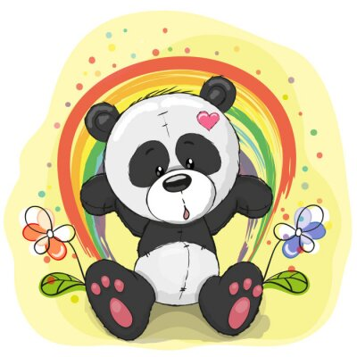Fototapeta Panda with rainbow