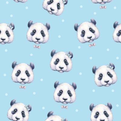 Fototapeta Pandy na světle modrém pozadí. Bezešvé vzor. Akvarel kreslení. Dětské ilustrace. Ruční práce