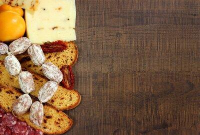 Fototapeta Pane,salumi e formaggi