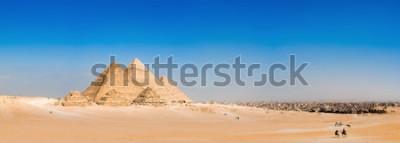 Fototapeta Panorama oblasti s velkými pyramidami v Gíze, Egypt