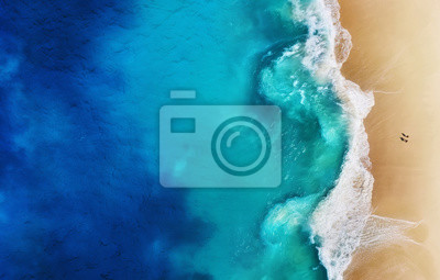 Fototapeta Panorama of a coast as a background from top view. Turquoise water background from top view. Summer seascape from air. Nusa Penida island, Indonesia. Travel - image