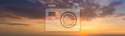 Fototapeta Panorama photo twilight sky background. Colorful Sunset sky and cloud.vivid sky in twilight time background. Fiery orange sunset sky. Beautiful