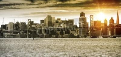 Fototapeta Panorama San Francisco Sunset Panorama s mostem Oakland Bay. Spojené státy.