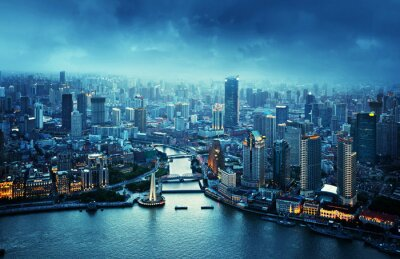 Fototapeta panorama Šanghaje při západu slunce, Čína