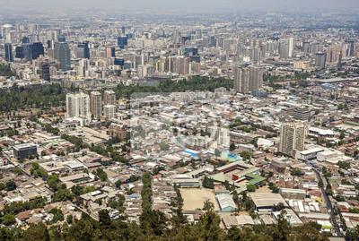 Fototapeta Panoramatický pohled na centrum Santiago de Chile, Chile.