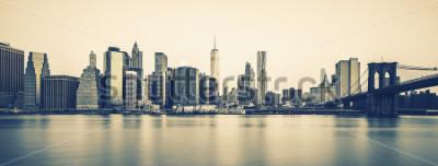 Fototapeta Panoramatický pohled na New York City Manhattan midtown za soumraku, speciální fotografické zpracování