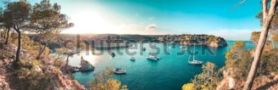 Fototapeta Panoramatický pohled na pláž záliv s tyrkysově modrou vodou a plachetnice a jachty na kotvě s rámem borovic. Krásné romantické Cala Portals Vells, Mallorca, Španělsko. Baleárské ostrovy