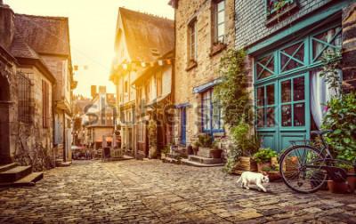 Fototapeta Panoramatický pohled na staré město v Evropě v krásné večerní světlo při západu slunce s retro vintage stylu pastelově tónovaný grunge filtr a objektivu flare efekt slunečního světla v létě  t
