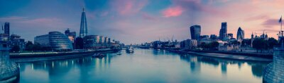 Fototapeta Panoramic view on London and Thames at twilight, from Tower Brid