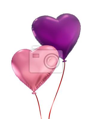 Fototapeta Pár barevné srdce balónky, samostatný 3D objekty