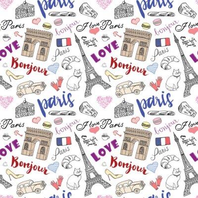 Fototapeta Paris bezproblémové vzorek s rukou vypracován náčrtu prvků - Eiffelova věž Triumf oblouku, módní doplňky. Kresba Doodle vektorové ilustrace, izolovaných na bílém