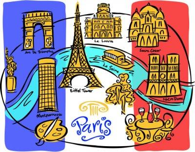 Fototapeta Paris Flag Map