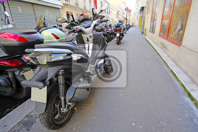 paris france february 9 2016 motorcycle parking on a street fototapeta fototapety tour. Black Bedroom Furniture Sets. Home Design Ideas