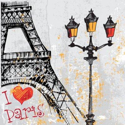 Fototapeta Paris grunge pozadí s Eiffelovou věží