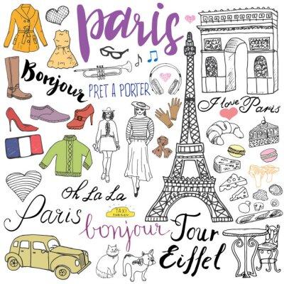 Fototapeta Paříž čmáranice prvky. Ručně kreslenými set s Eiffelovou věží pěstovanou kavárně, taxi Triumf oblouku, módní prvky, kočka a Francouzský buldoček. Kresba doodle sběr a nápisy, izolovaných na bílém
