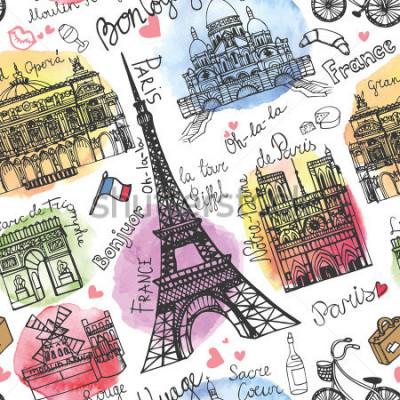Fototapeta Paříž mezník, nápis ochotné pattern.Watercolor stein.Vintage doodle.In francouzské dobré cestování, ahoj, Notre Dame, Eiffelova věž, Sacre Coeur, Velká opera, oblouk de Triomphe, Moulin Rouge.Ve