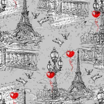 Fototapeta Paříž. Vintage bezešvé vzor 3