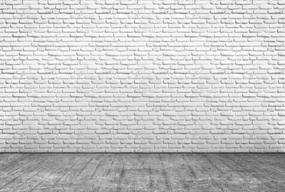 Fototapeta pavimento v cemento e Muro v Mattoni bianchi
