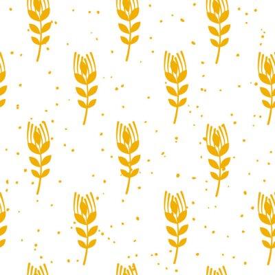 Fototapeta Pekárna bezešvé vzor s pšenice na bílém pozadí. Ornament pro textil a obal. Vektor.
