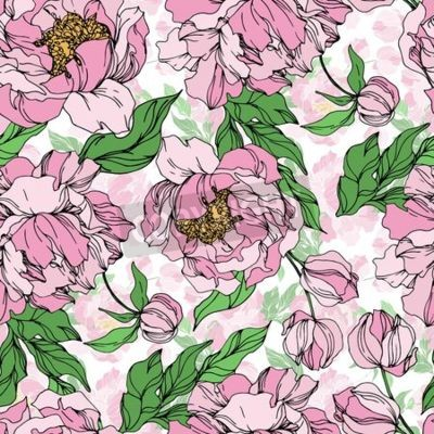 Fototapeta Peony floral botanical flowers. Wild spring leaf wildflower isolated. Black and white engraved ink art. Seamless background pattern. Fabric wallpaper print texture.