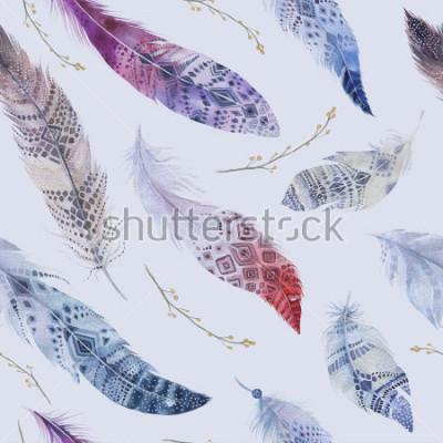 Fototapeta Peří vzor. Elegantní pozadí akvarel. Akvarel barevný organický tisk. Bezproblémová opakující se barevná struktura Boho s ručně kreslenou elegantní tapetou. Ptačí ilustrace.