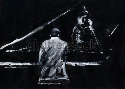 Fototapeta Pianista a kontrabasista. Koncert jazzové kapely. Klavírista a kontrabasista vystupují na jevišti. Stylové černobílé abstraktní malby. Zadní a boční pohled. Hudebníci s nástroji.