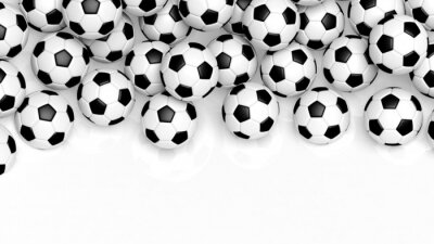 Fototapeta Pile of classic soccer balls isolated on white with copy-space