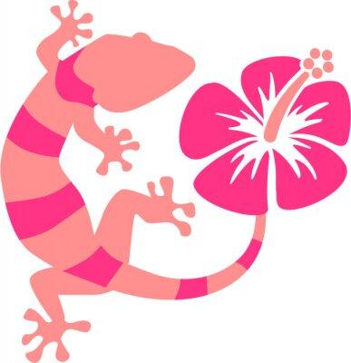 Fototapeta Pink Gecko s ibišky