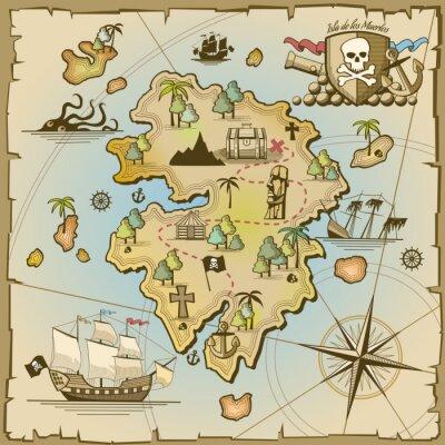 Fototapeta Pirate Treasure Island vektorové mapy