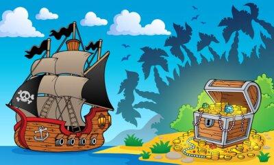 Fototapeta Pirátská téma s pokladnice 1
