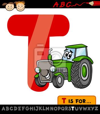 Pismeno T Se Traktor Kreslene Ilustrace Fototapeta Fototapety