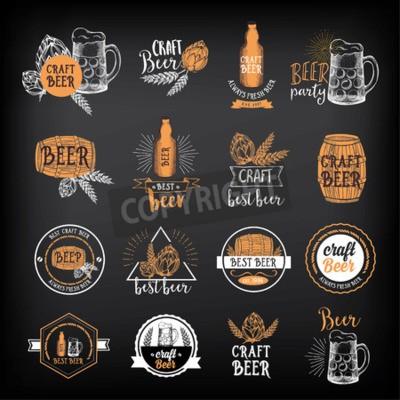 Fototapeta Pivnice odznaky vektoru, menu konstrukce alkohol.