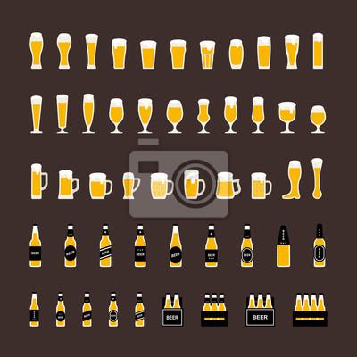 fb800f05947 Fototapeta Pivních lahví a sklenic ikony nastavit v plochém stylu. Vektor