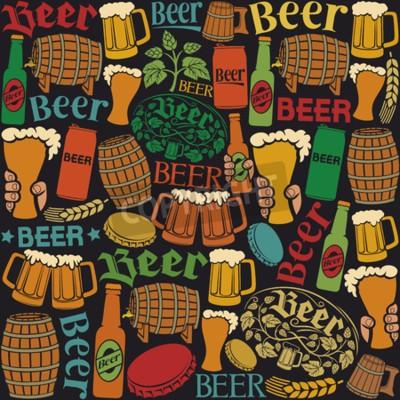Fototapeta pivo ikony bezešvé vzor pivo na pozadí, chmel list, hop větev, dřevěný sud, pivo, pivo silách, uzávěrem, korbelem piva, pivní lahve od piva