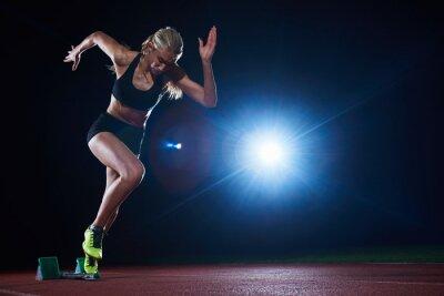 Fototapeta pixelated design ženy sprinter opuštění startovní bloky