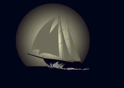 Fototapeta Plachetnice na pozadí Měsíci