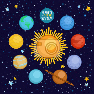 Planet Slunecni Soustavy Ve Vesmiru Kreslene Vektorove Ilustrace